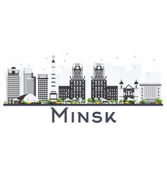 minsk belarus city skyline with gray buildings vector image
