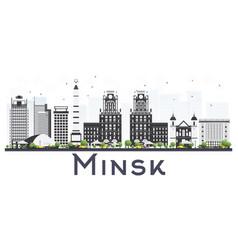Minsk belarus city skyline with gray buildings vector