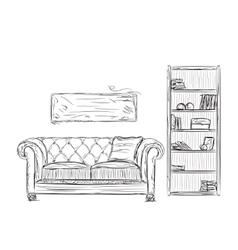 Modern interior room sketch Hand drawn furniture vector