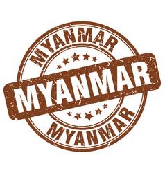 Myanmar brown grunge round vintage rubber stamp vector