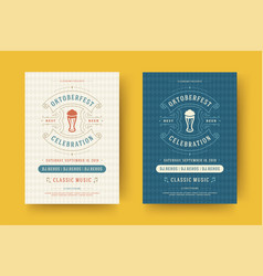 Oktoberfest flyers or posters retro typography vector