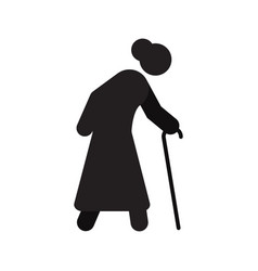 Old woman going with walking stick silhouette icon vector