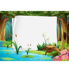 Paper design with pond in forest vector