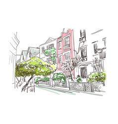 Paris european street sketch watercolor vector