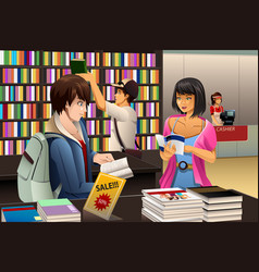 people in a book store vector image