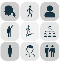 person icons set with friends female pupil and vector image