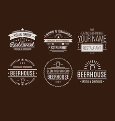 Restaurant logo badges in vintage style vector