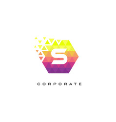 S colorful hexagonal letter logo design with vector