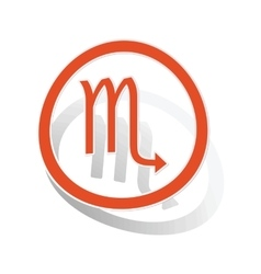 Scorpio sign sticker orange vector image
