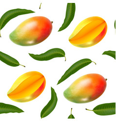 Seamless pattern with realistic mango vector