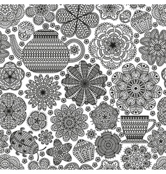 Seamless pattern with teapot cup vector