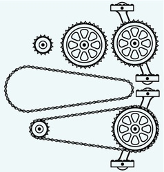 Set chain gears vector image
