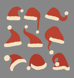 set christmas hats santa claus collection vector image
