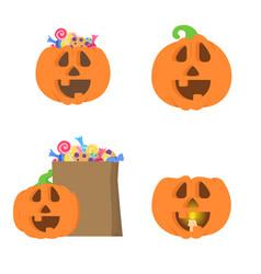 Set with different halloween pumpkins vector