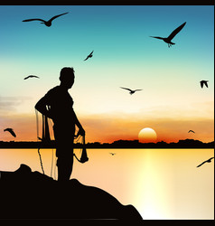 Silhouette man waiting to catch fish in vector