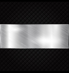silver metallic banner on black squares textured vector image