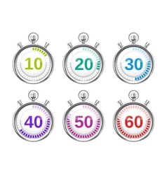 Six colorful stopwatches with varying times vector
