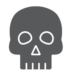 skull glyph icon halloween and horror bones sign vector image