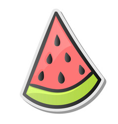 Slice of watermelon sticker emoji style vector