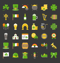 st patrick day related icon flat design vector image