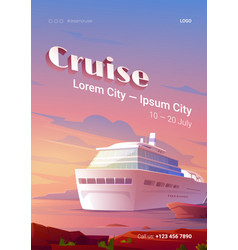summer cruise poster with ship in ocean at sunset vector image