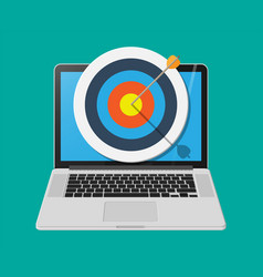 Target with arrow in cente on laptop screen vector