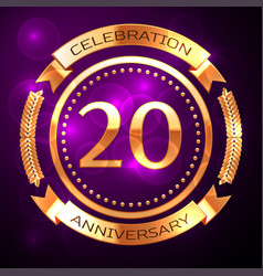 twenty years anniversary celebration with golden vector image