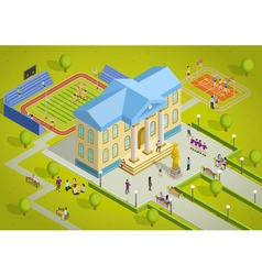 University complex building isometric view poster vector