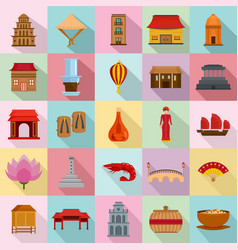 vietnam travel tourism icons set flat style vector image