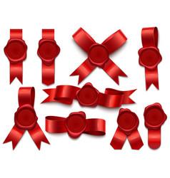 Wax seal ribbon stamps on ribbons royal mail vector