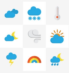 Weather flat icons set collection of crescent vector