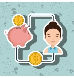 woman cartoon piggy currency money vector image
