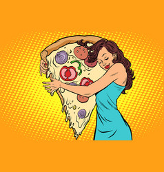 woman hugging a pizza vector image