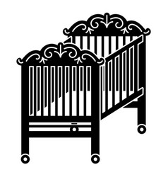 Wood crib icon simple style vector