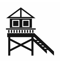 Wooden stilt house icon simple style vector image
