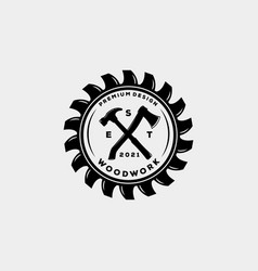 Woodwork carpentry house vintage badge logo vector