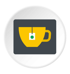 Yellow tea cup with teabag icon circle vector