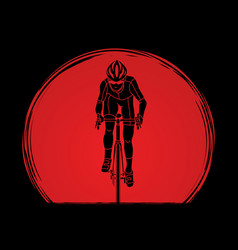 bicycle riding front view sport man biking vector image vector image