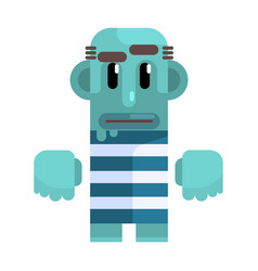 Bold tramp with blue skin in stripy marine top vector