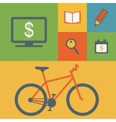 Business icons and bicycle vector image