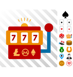 cryptocurrency casino machine icon with bonus vector image