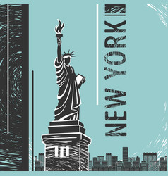 new york statue of liberty poster vector image