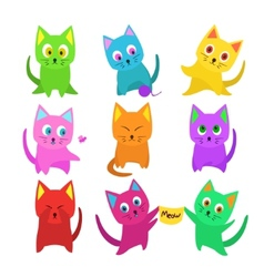 set of funny cartoon cats in unusual colors vector image