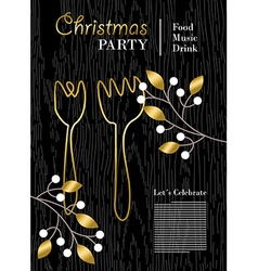 Christmas party template with gold decoration vector image