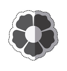 contour flower with squre petals icon vector image vector image