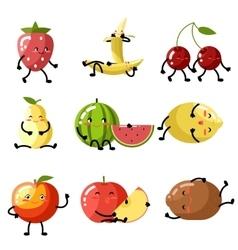 Fresh fruit apple cherry watermelon kiwi vector image vector image