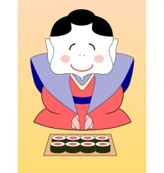geisha with sushi vector image vector image