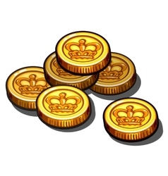 Gold coins with royal crown isolated vector image vector image
