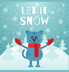 let it snow the postcard or banner cute blue cat vector image