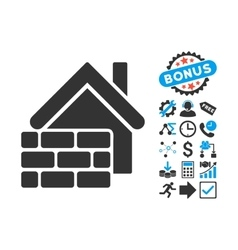 Realty Brick Wall Flat Icon with Bonus vector image